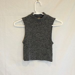 Express grey knit cropped sleeveless sweater